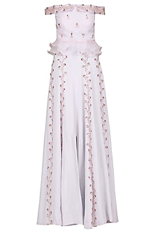 Lilac Embroidered Slit Skirt with Crop Top by Pink Peacock Couture