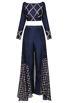 Navy Blue Embroidered Pants with Crop Top by Pink Peacock Couture
