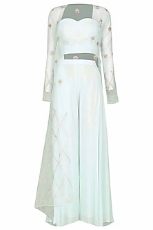 Light Blue Embroidered Cape with Bustier and Palazzo Pants by Pink Peacock Couture
