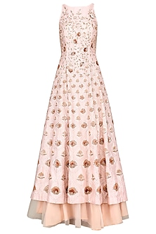 Pink Embroidered Anarkali with Skirt by Pink Peacock Couture