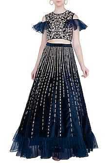 Navy Blue Embroidered Ruffle Crop Top with Lehenga Skirt by Pink Peacock Couture