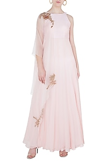 Pink Embroidered Anarkali Gown with Overlay by Pink Peacock Couture