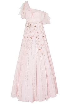 Pink Layered Embroidered Gown by Pink Peacock Couture
