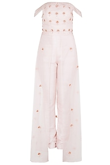 Pink Embroidered Crop Top with Organza Overlayer Pants by Pink Peacock Couture