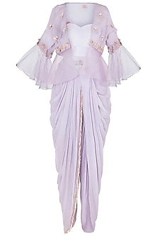 Lilac Tube Top and Dhoti Pants with Embroidered Jacket by Pink Peacock Couture