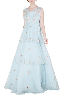 Powder Blue Layered Embroidered Gown by Pink Peacock Couture