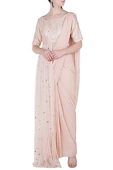 Dark Cream Pre-Stitched Saree with Embroidered Drape Blouse by Pink Peacock Couture