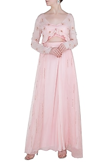 Pink Embroidered Overlay Jacket Blouse with Lehenga Skirt by Pink Peacock Couture