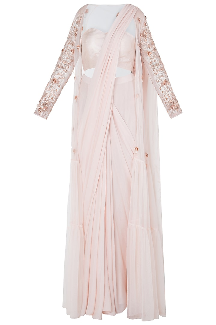 Cream Pre-Stitched Saree with Blouse and Embroidered Jacket by Pink Peacock Couture
