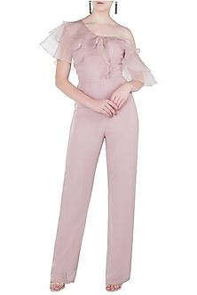 Dusty Pink One Shoulder Ruffles Jumpsuit by Pink Peacock Couture