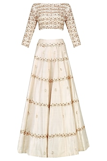 Cream Embroidered Crop Top and Lehenga Set by Pink Peacock Couture
