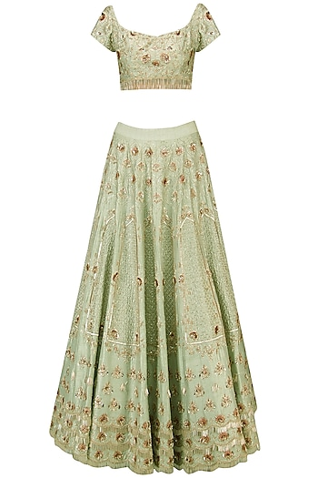 Green Heavy Embroidered Bridal Lehenga Set by Pink Peacock Couture