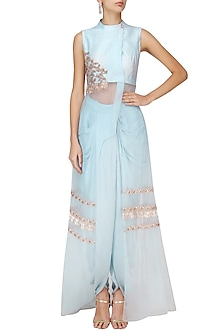 Powder Blue Dhoti Saree with Embroidered Jacket Overlay by Pink Peacock Couture