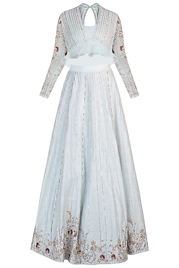Powder blue embroidered lehenga skirt with blouse by PINK PEACOCK COUTURE