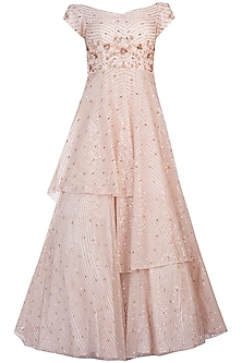 Peach embroidered layered gown by PINK PEACOCK COUTURE