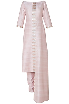 Blush pink embroidered kurta with pants by PINK PEACOCK COUTURE