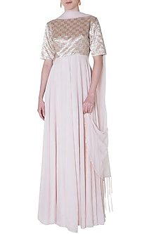 Nude embroidered anarkali by PINK PEACOCK COUTURE