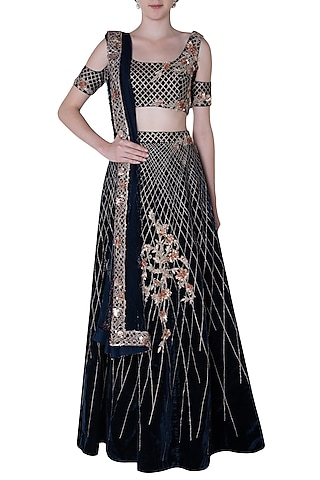 Navy blue embroidered lehenga set by PINK PEACOCK COUTURE
