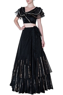Black velvet embroidered lehenga skirt and blouse by PINK PEACOCK COUTURE