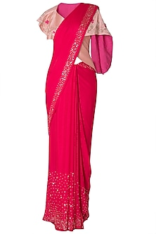Old rose embroidered saree with jacket by PINK PEACOCK COUTURE