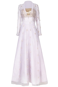Lilac Embroidered Lehenga Set with Organza Jacket by Pink Peacock Couture