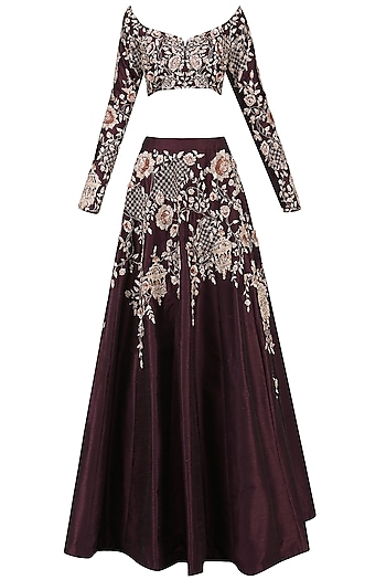 Burgandy Embroidered Lehenga Set by Pink Peacock Couture
