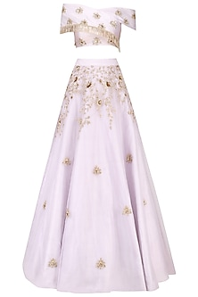 Lilac Cross Shoulder Embroidered Crop Top and Embellished Skirt by Pink Peacock Couture