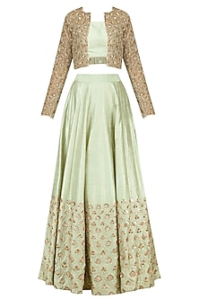 Green Tassel Crop Top and Lehenga with Beige Jacket by Pink Peacock Couture