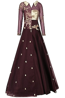 Burgandy Floral Embroidered Lehenga Set by Pink Peacock Couture