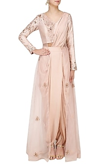 Blush Pink Embroidered Pre Draped Dhoti Saree by Pink Peacock Couture