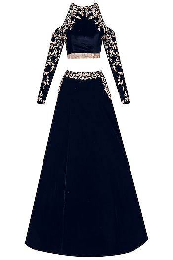 Blue Velvet Cold Shoulder Crop Top and Skirt by Pink Peacock Couture