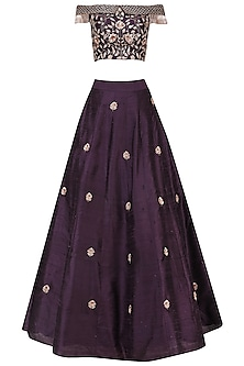 Purple Embroidered Off Shoulder Crop Top and Skirt by Pink Peacock Couture