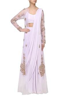 Lilac Drape Saree with Embroidered Jacket Overlay by Pink Peacock Couture