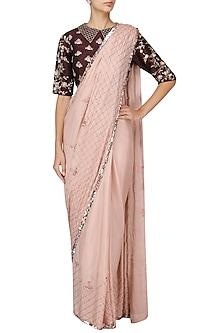 Nude Embroidered Saree with Burgundy Blouse by Pink Peacock Couture