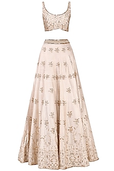 Pink Embroidered Lehenga Set by Pink Peacock Couture