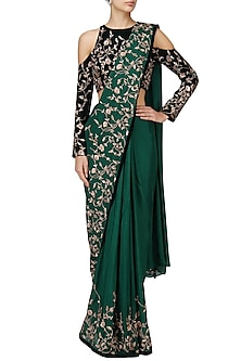 Green Embroidered Saree Set by Pink Peacock Couture