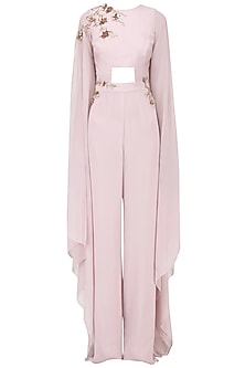 Dusty Lilac Embroidered Jumpsuit by Pink Peacock Couture