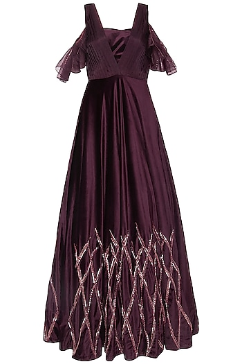 Wine embroidered gown with bustier by Pink Peacock Couture