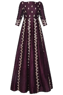 Wine embroidered gown by Pink Peacock Couture