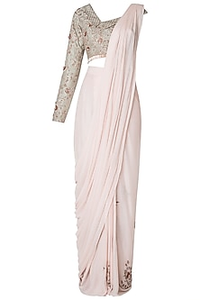 Peach Embroidered Saree with One Side Off Shoulder Blouse by Pink Peacock Couture