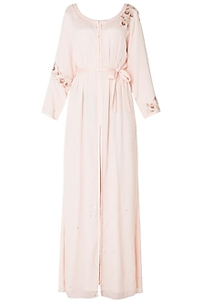 Baby Pink Embroidered Front Open Tunic with Belt by Pink Peacock Couture