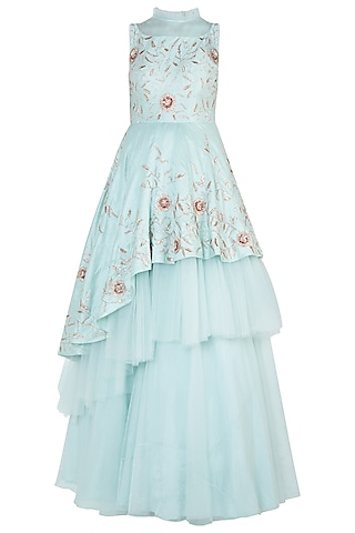 Mint blue embroidered layered gown by PINK PEACOCK COUTURE
