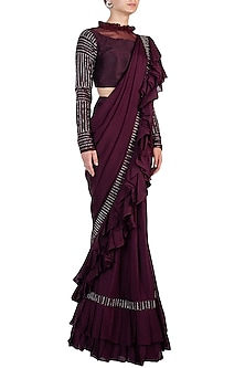 Wine Embroidered Ruffled Saree with Blouse by Pink Peacock Couture