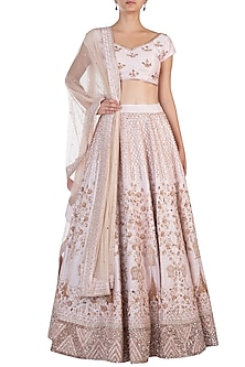 Pink Embroidered Bridal Lehenga Set by Pink Peacock Couture
