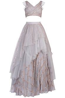 Grey Embroidered Crop Top with Lehenga Skirt by Pink Peacock Couture