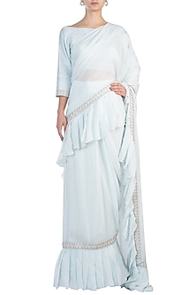 Powder Blue Embroidered Ruffled Saree with Blouse by Pink Peacock Couture