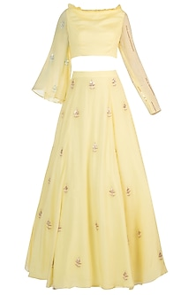 Yellow Embroidered Crop Top with Lehenga Skirt by Pink Peacock Couture