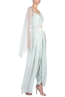 Mint Blue Embroidered Crop Top with Dhoti Pants by Pink Peacock Couture