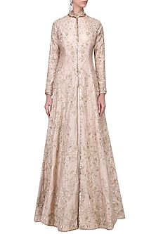 Nude Embroidered Jacket with Lehenga Set by Pink Peacock Couture