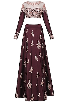 Burgandy Embroidered Crop Top with Skirt Set by Pink Peacock Couture